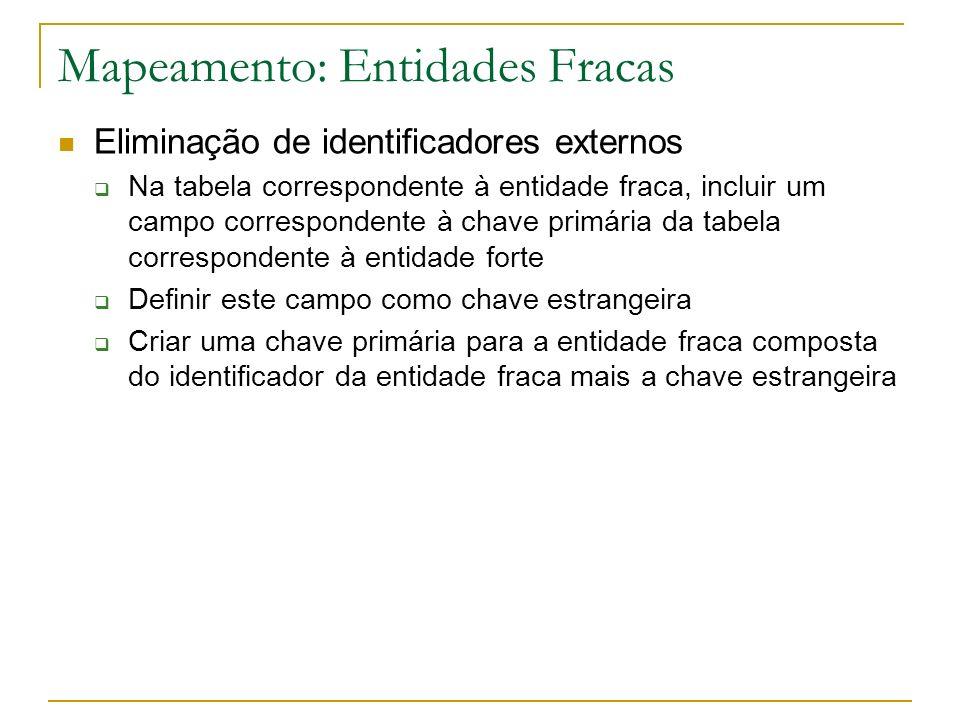 Mapeamento: Entidades Fracas Eliminação de identificadores externos Na tabela correspondente à entidade fraca, incluir um campo correspondente à chave