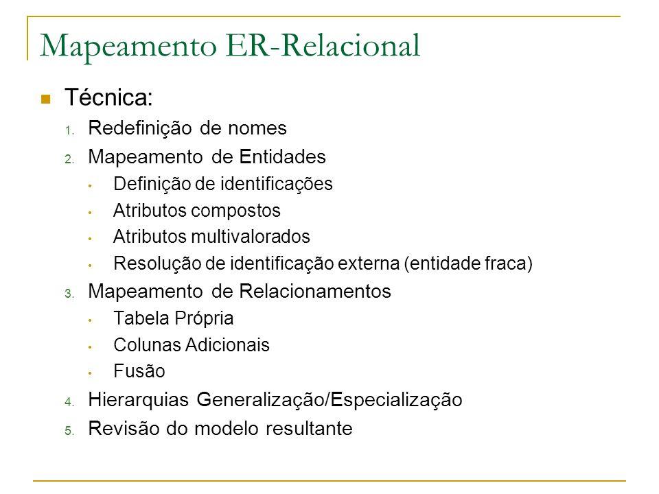 Mapeamento ER-Relacional Técnica: 1. Redefinição de nomes 2. Mapeamento de Entidades Definição de identificações Atributos compostos Atributos multiva