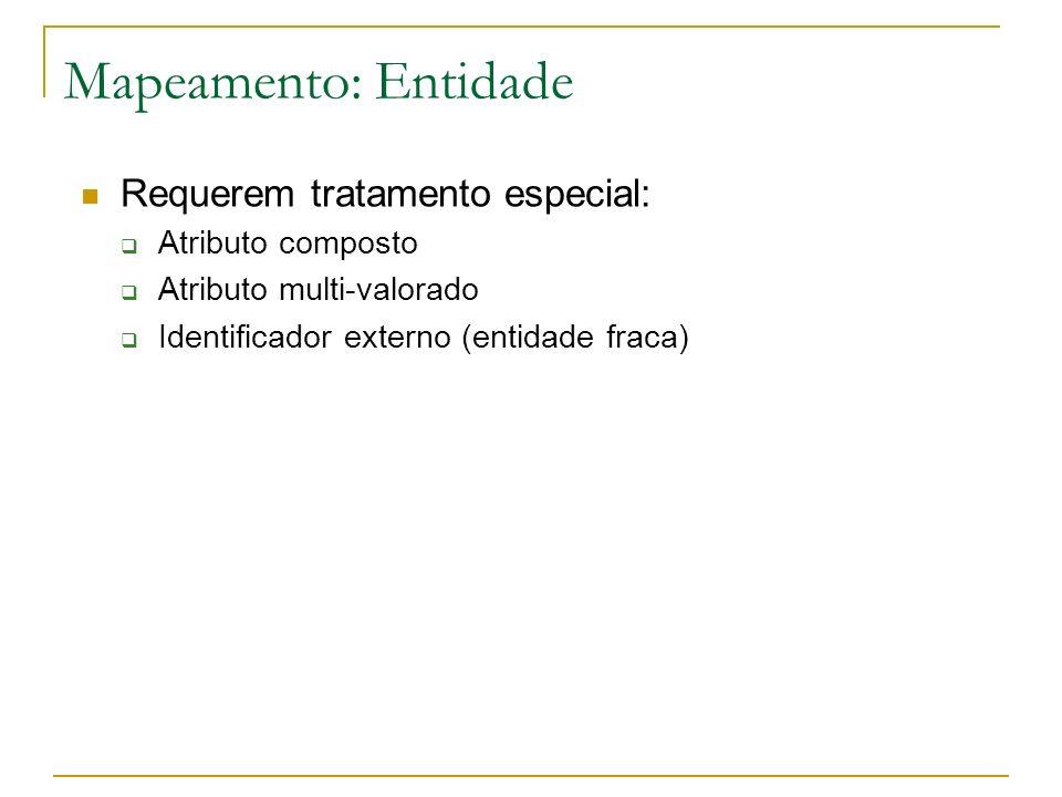 Mapeamento: Entidade Requerem tratamento especial: Atributo composto Atributo multi-valorado Identificador externo (entidade fraca)