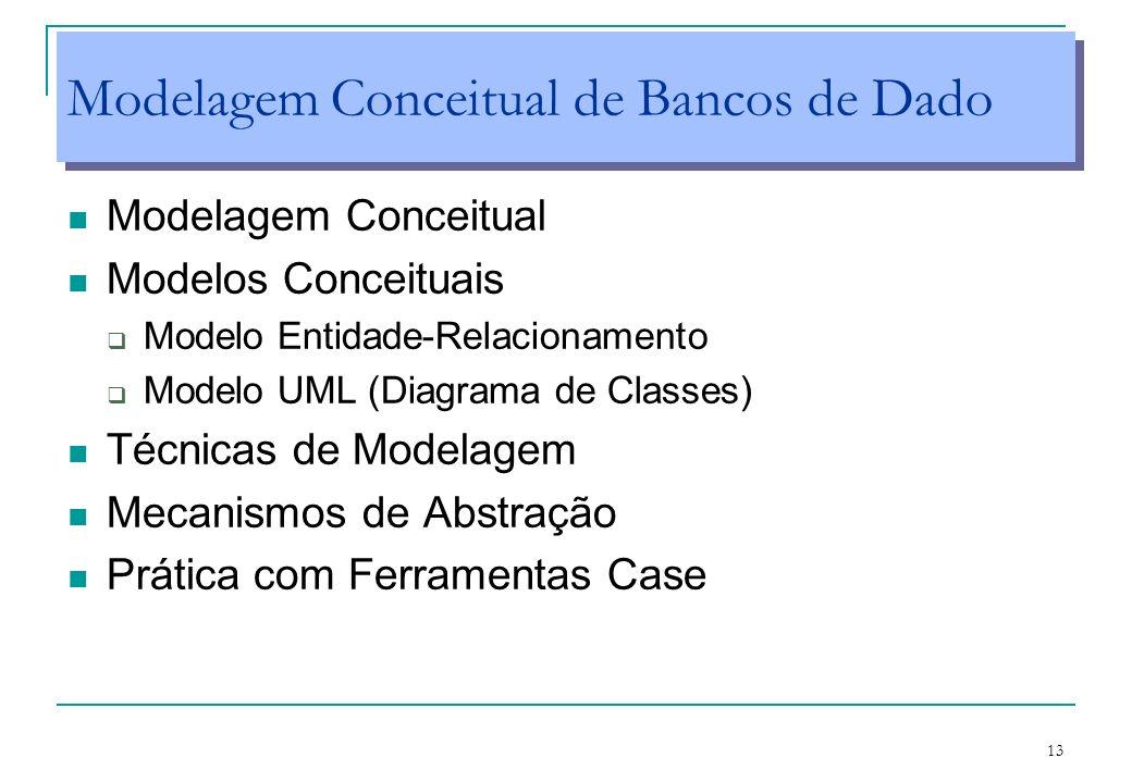 13 Modelagem Conceitual de Bancos de Dado Modelagem Conceitual Modelos Conceituais Modelo Entidade-Relacionamento Modelo UML (Diagrama de Classes) Téc