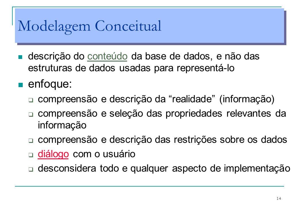 14 Modelagem Conceitual descrição do conteúdo da base de dados, e não das estruturas de dados usadas para representá-lo enfoque: compreensão e descriç