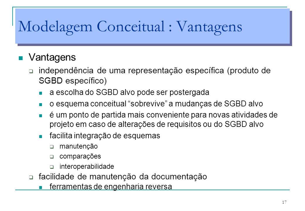 17 Modelagem Conceitual : Vantagens Vantagens independência de uma representação específica (produto de SGBD específico) a escolha do SGBD alvo pode s