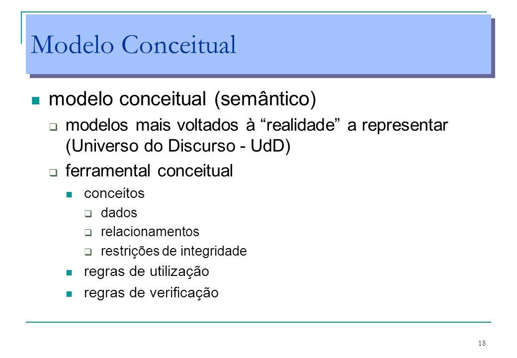 18 Modelo Conceitual modelo conceitual (semântico) modelos mais voltados à realidade a representar (Universo do Discurso - UdD) ferramental conceitual