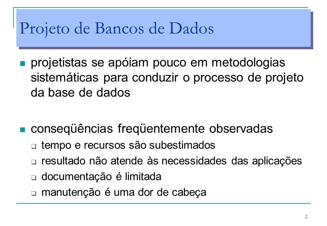 2 Projeto de Bancos de Dados projetistas se apóiam pouco em metodologias sistemáticas para conduzir o processo de projeto da base de dados conseqüênci