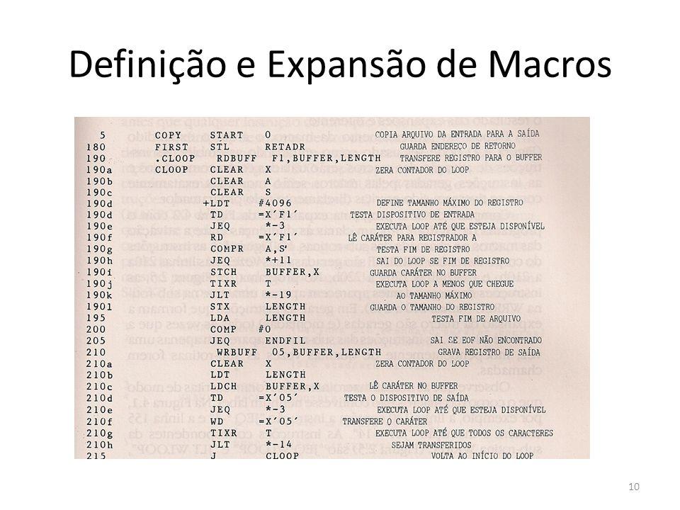 Definição e Expansão de Macros 10