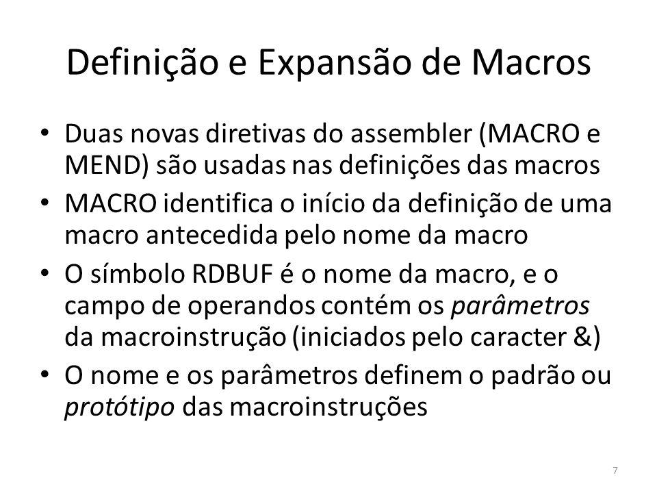 Duas novas diretivas do assembler (MACRO e MEND) são usadas nas definições das macros MACRO identifica o início da definição de uma macro antecedida p
