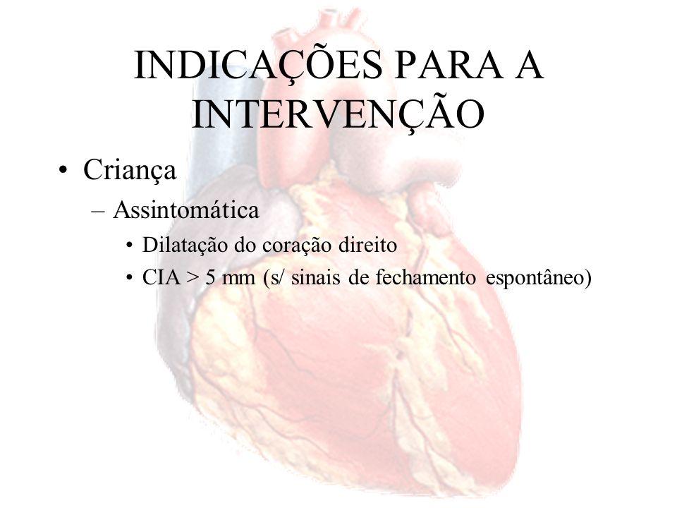 INDICAÇÕES DE OPERAÇÃO Hipertensão pulmonar com shunt > 1,5:1 ou reatividade ao vasodilatador