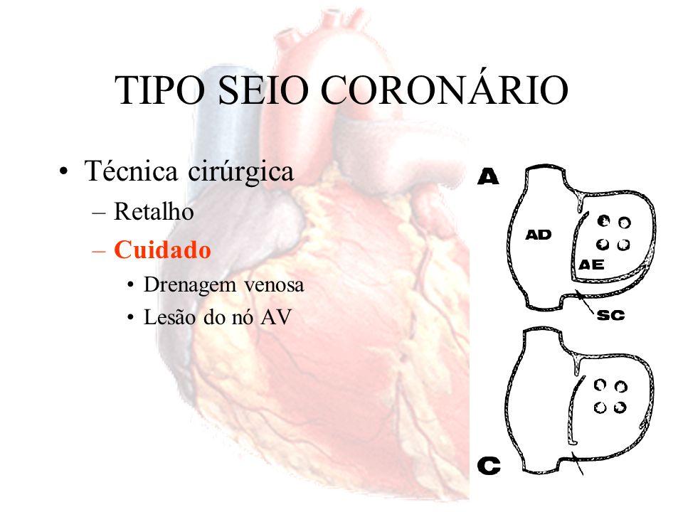 TIPO OSTIUM PRIMUM Técnica cirúrgica –Reparo mitral – fechamento da fenda Fechamento do defeito do septo atrial – seio coronariano para a direita Fechamento do defeito do septo atrial – seio coronariano para a esquerda