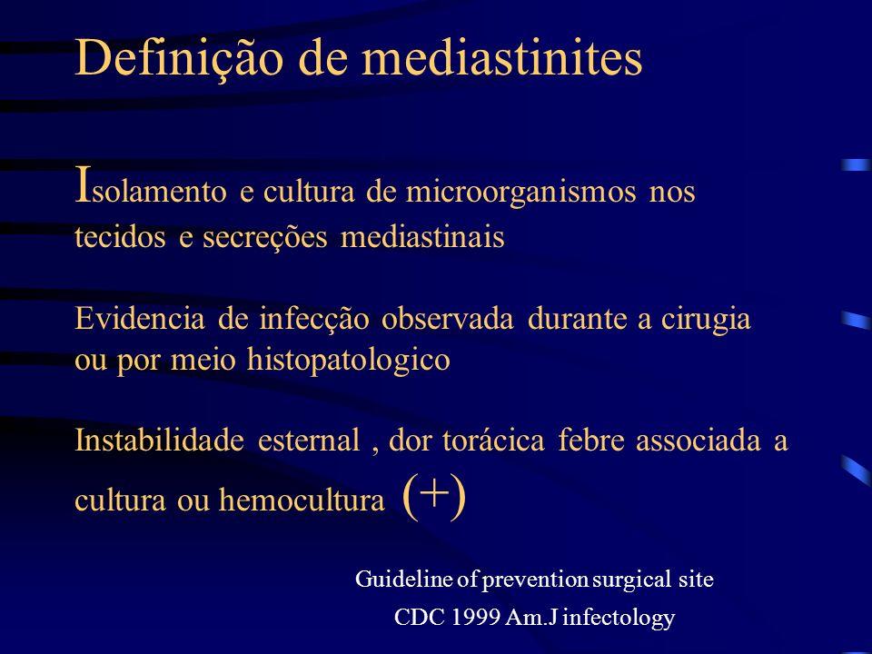 Definição de mediastinites I solamento e cultura de microorganismos nos tecidos e secreções mediastinais Evidencia de infecção observada durante a cir