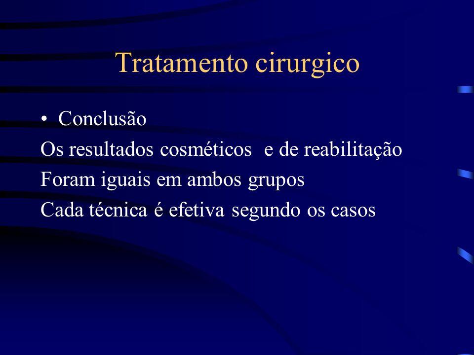 Tratamento cirurgico Conclusão Os resultados cosméticos e de reabilitação Foram iguais em ambos grupos Cada técnica é efetiva segundo os casos