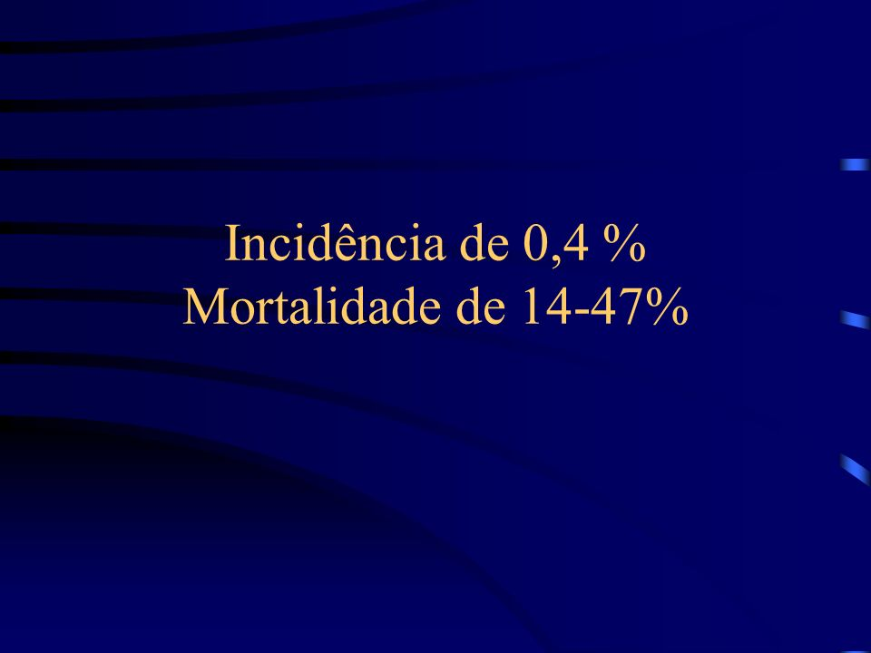 Incidência de 0,4 % Mortalidade de 14-47%