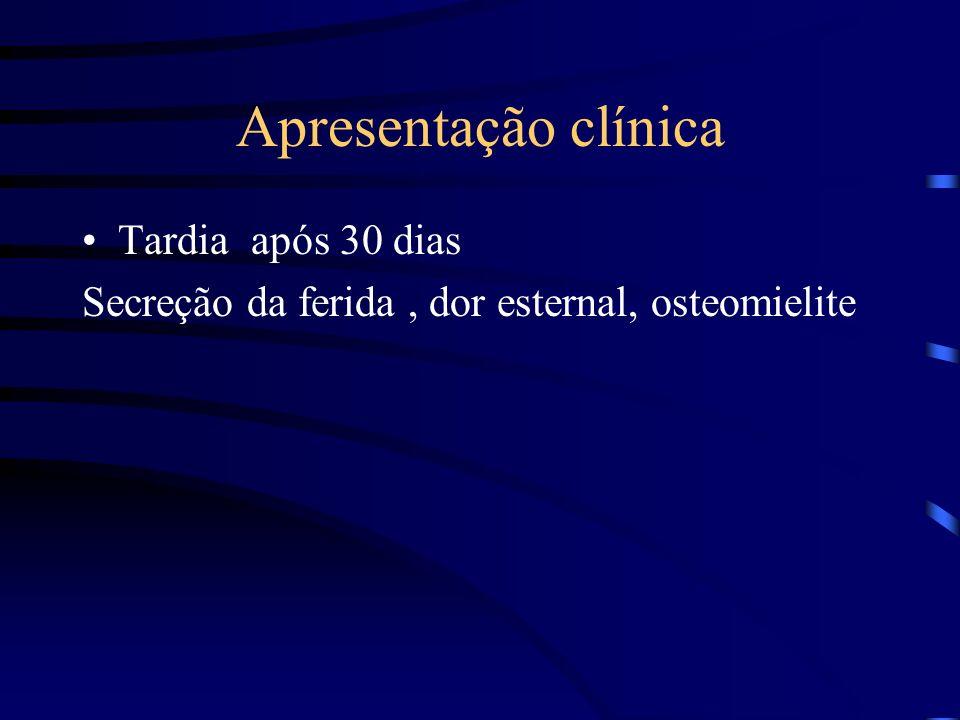 Apresentação clínica Tardia após 30 dias Secreção da ferida, dor esternal, osteomielite
