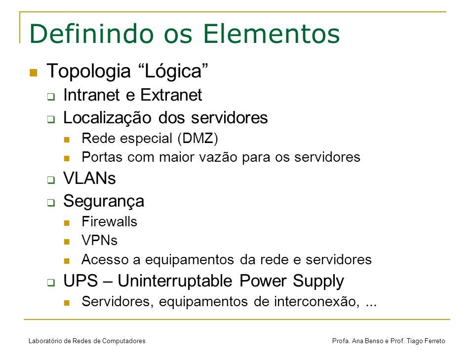 Laboratório de Redes de Computadores Profa. Ana Benso e Prof. Tiago Ferreto Definindo os Elementos Topologia Lógica Intranet e Extranet Localização do