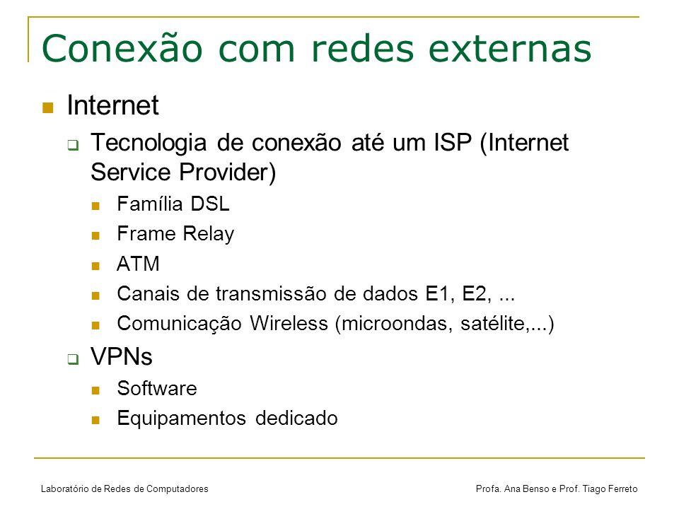 Laboratório de Redes de Computadores Profa. Ana Benso e Prof. Tiago Ferreto Conexão com redes externas Internet Tecnologia de conexão até um ISP (Inte