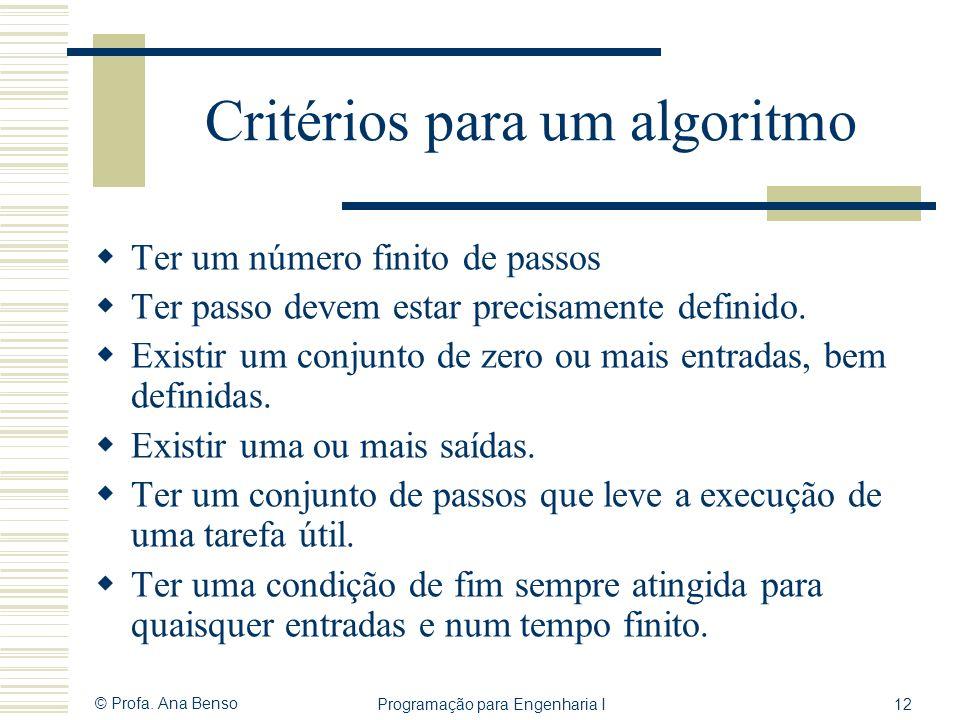 © Profa. Ana Benso Programação para Engenharia I12 Critérios para um algoritmo Ter um número finito de passos Ter passo devem estar precisamente defin