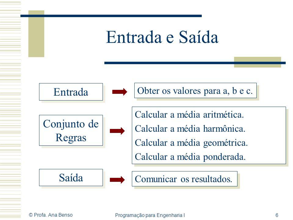 © Profa. Ana Benso Programação para Engenharia I6 Entrada e Saída Entrada Saída Conjunto de Regras Obter os valores para a, b e c. Calcular a média ar