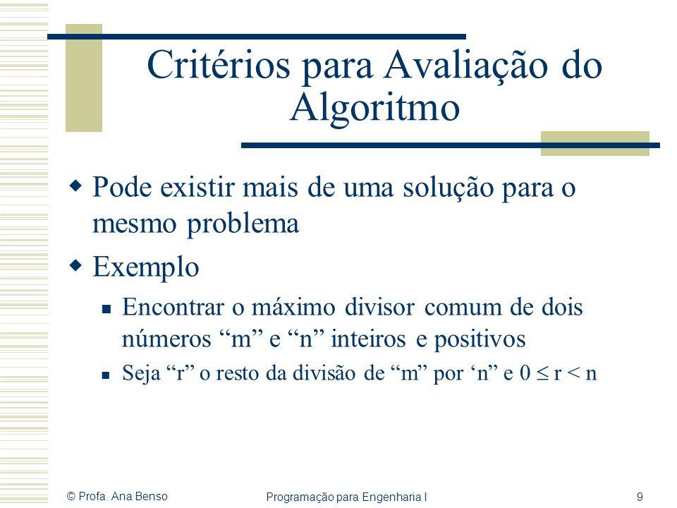 © Profa. Ana Benso Programação para Engenharia I9 Critérios para Avaliação do Algoritmo Pode existir mais de uma solução para o mesmo problema Exemplo