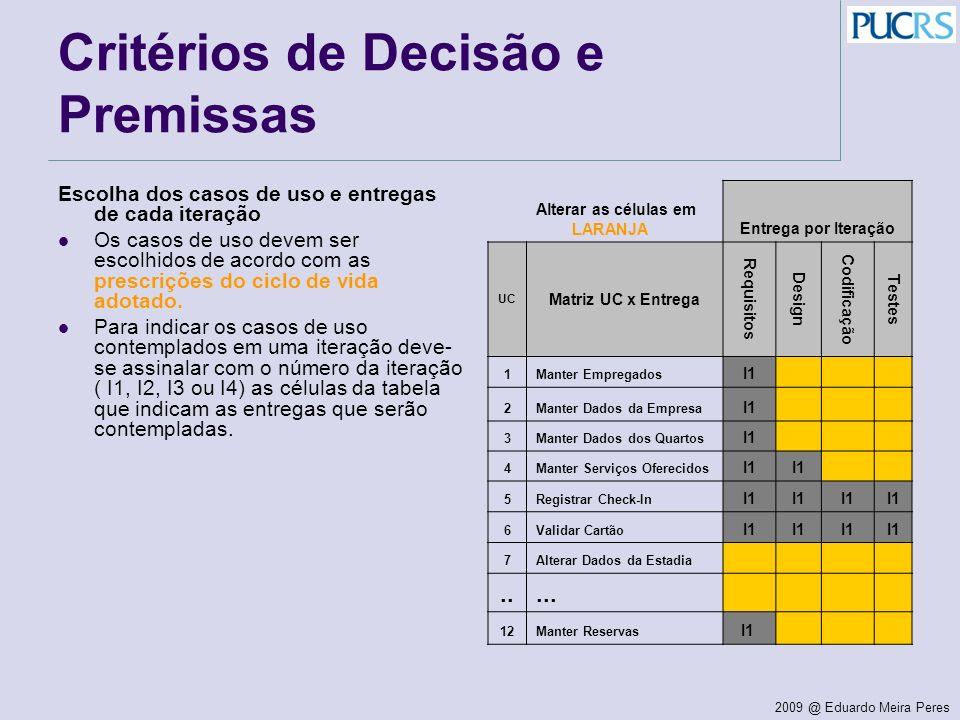 2009 @ Eduardo Meira Peres Critérios de Decisão e Premissas Escolha dos casos de uso e entregas de cada iteração Os casos de uso devem ser escolhidos