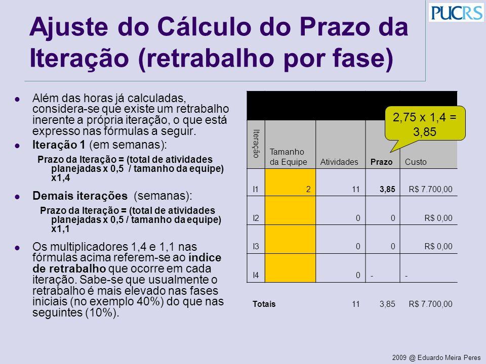 2009 @ Eduardo Meira Peres Ajuste do Cálculo do Prazo da Iteração (retrabalho por fase) Além das horas já calculadas, considera-se que existe um retra
