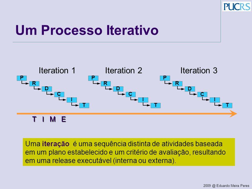 2009 @ Eduardo Meira Peres Um Processo Iterativo T I M E Iteration 1Iteration 2Iteration 3 P R D C I T P R D C I T P R D C I T Uma iteração é uma sequ