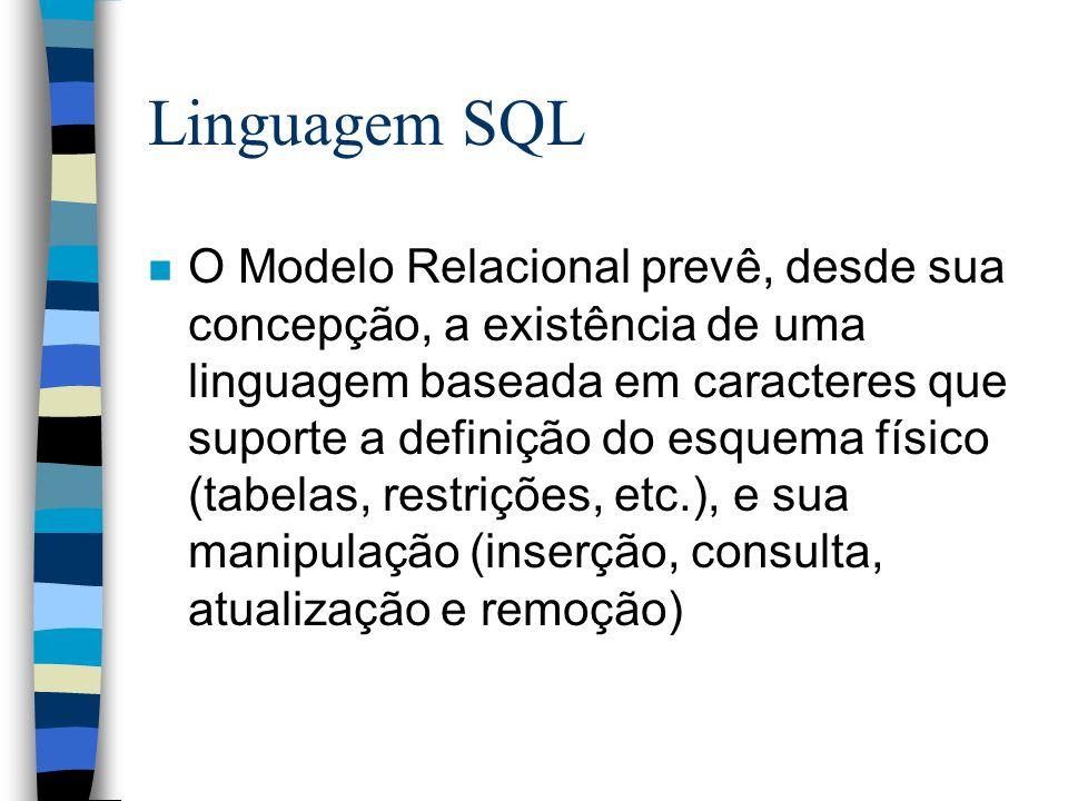 Linguagem SQL n A Linguagem SQL (Structured Query Language) é padrão para SGBDs Relacionais –padrão ANSI (American National Standards Institute) ANSI X3.135-1986 = ISO/IEC 9075:1987 ANSI X3.135-1989 = ISO/IEC 9075:1989 ANSI X3.135-1992 = ISO/IEC 9075:1992 (SQL2) ANSI X3.135.10-1998 substituído pelo SQL1999 ANSI X3.135-1999 = ISSO/IEC 9075:1999 n Embora seja capaz de prover acesso facilitado aos dados, a linguagem SQL possui certas limitações, como a impossibilidade de manipular uma tabela linha-a-linha, exigindo sua extensão, neste caso, através da definição de cursores