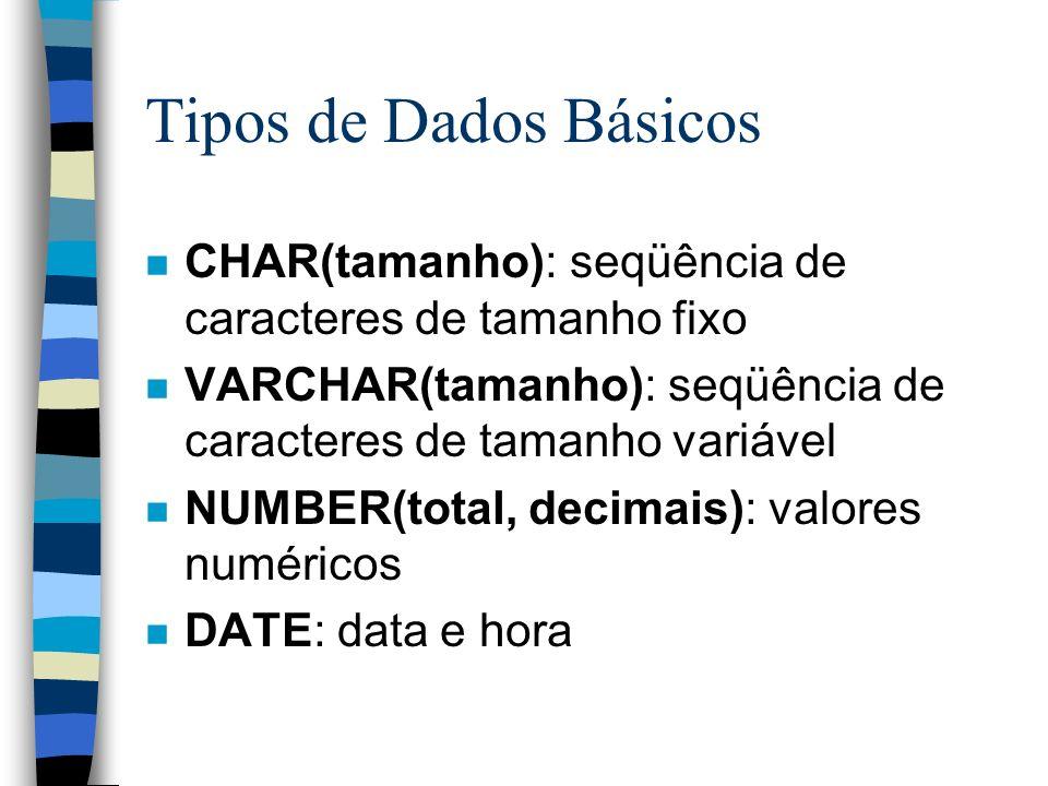Tipos de Dados Básicos n CHAR(tamanho): seqüência de caracteres de tamanho fixo n VARCHAR(tamanho): seqüência de caracteres de tamanho variável n NUMB