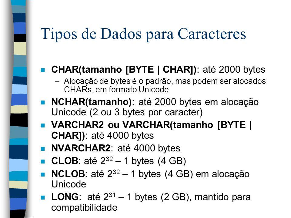 Tipos de Dados para Caracteres n CHAR(tamanho [BYTE | CHAR]): até 2000 bytes –Alocação de bytes é o padrão, mas podem ser alocados CHARs, em formato U