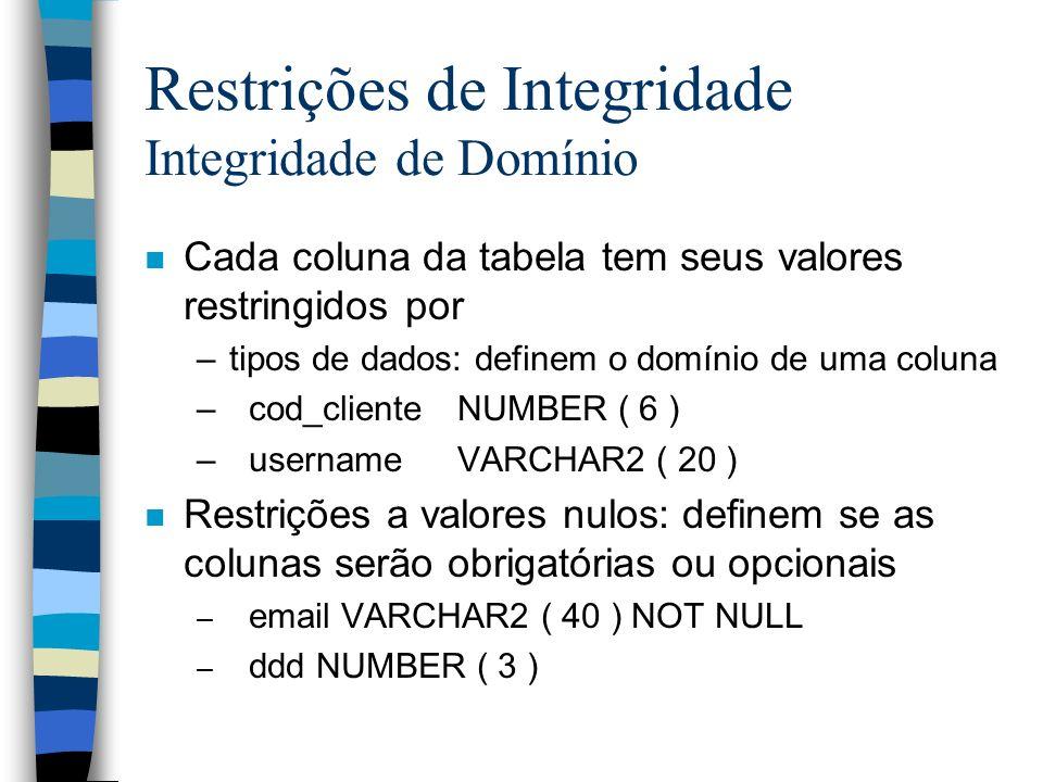 Restrições de Integridade Integridade de Domínio n Cada coluna da tabela tem seus valores restringidos por –tipos de dados: definem o domínio de uma c