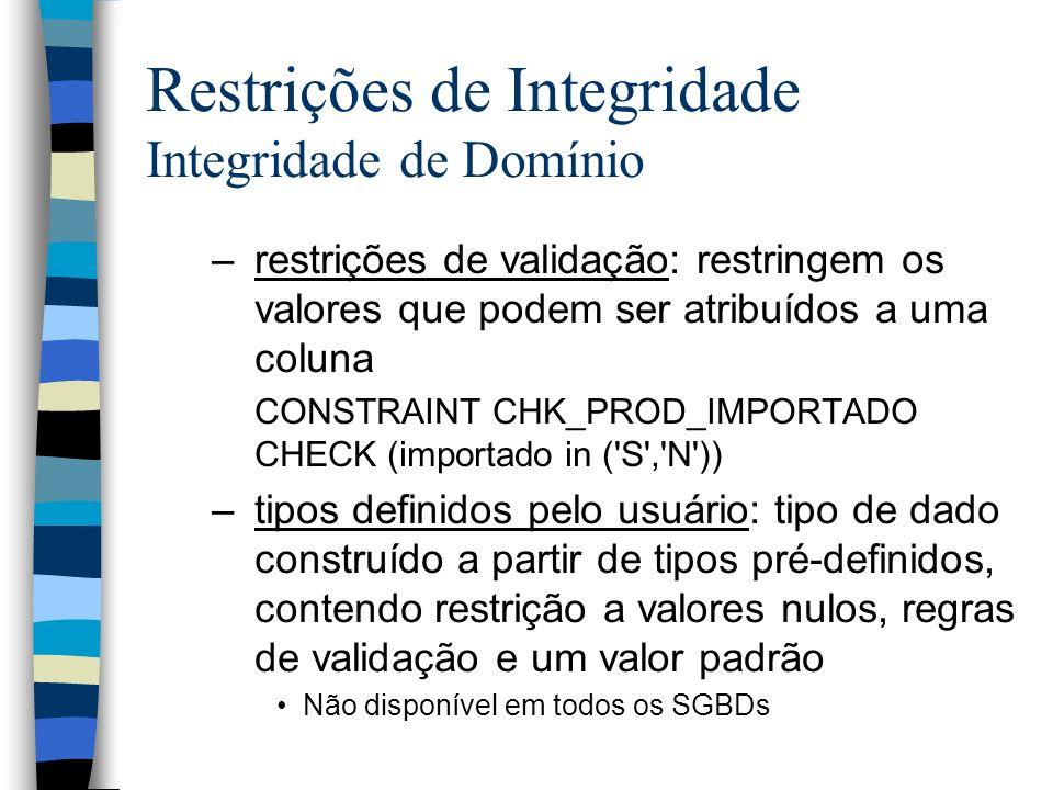 Restrições de Integridade Integridade de Domínio –restrições de validação: restringem os valores que podem ser atribuídos a uma coluna CONSTRAINT CHK_