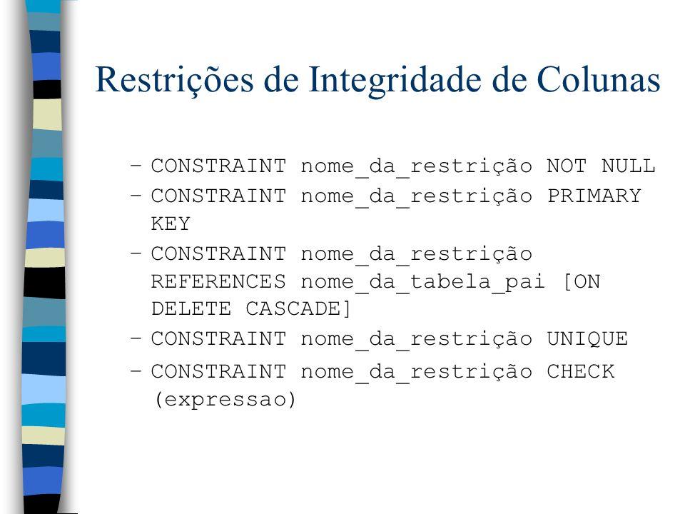 Restrições de Integridade de Colunas –CONSTRAINT nome_da_restrição NOT NULL –CONSTRAINT nome_da_restrição PRIMARY KEY –CONSTRAINT nome_da_restrição RE
