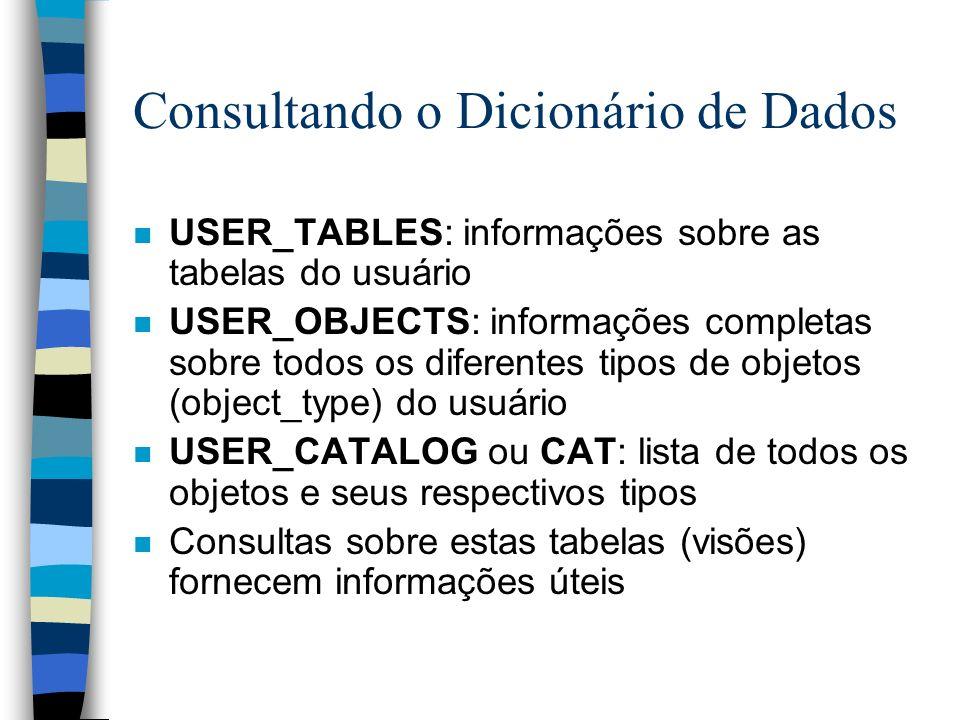 Consultando o Dicionário de Dados n USER_TABLES: informações sobre as tabelas do usuário n USER_OBJECTS: informações completas sobre todos os diferent