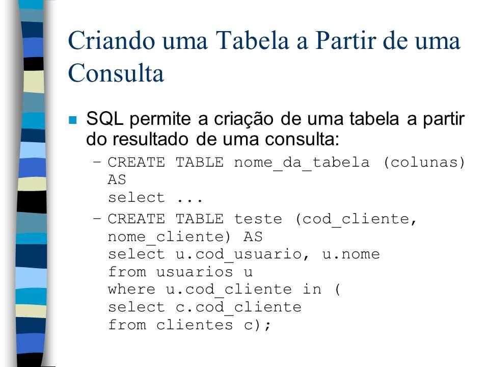 Criando uma Tabela a Partir de uma Consulta n SQL permite a criação de uma tabela a partir do resultado de uma consulta: –CREATE TABLE nome_da_tabela