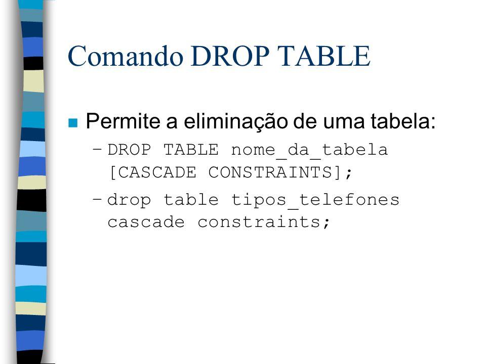Comando DROP TABLE n Permite a eliminação de uma tabela: –DROP TABLE nome_da_tabela [CASCADE CONSTRAINTS]; –drop table tipos_telefones cascade constra