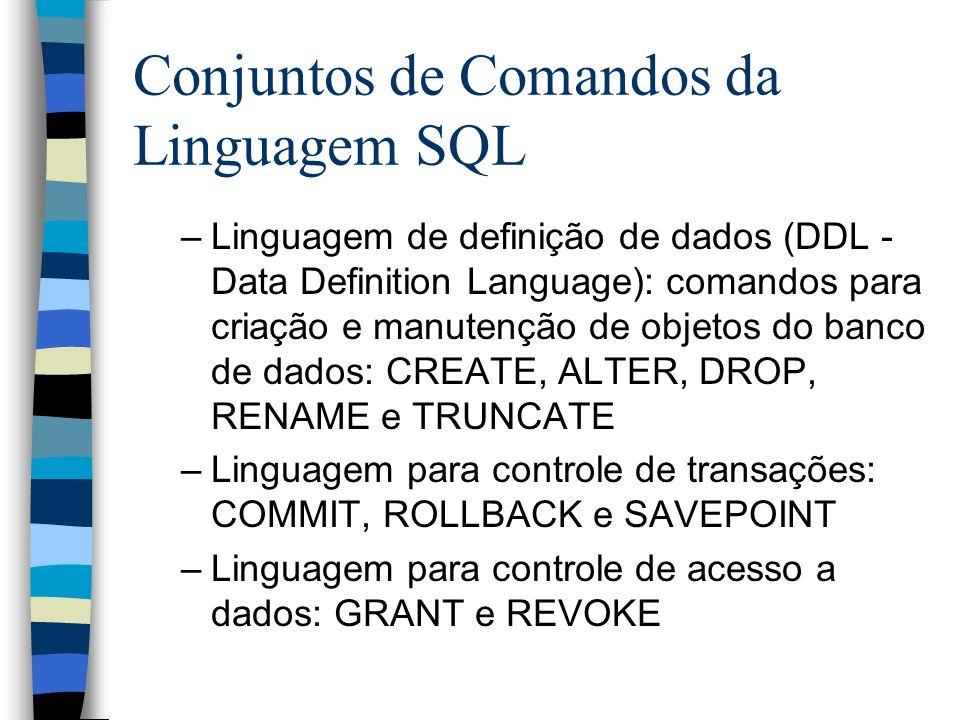 Conjuntos de Comandos da Linguagem SQL –Linguagem de definição de dados (DDL - Data Definition Language): comandos para criação e manutenção de objeto