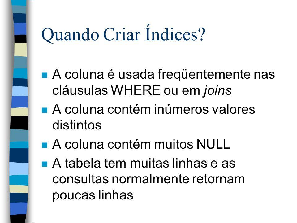 Quando Criar Índices? n A coluna é usada freqüentemente nas cláusulas WHERE ou em joins n A coluna contém inúmeros valores distintos n A coluna contém