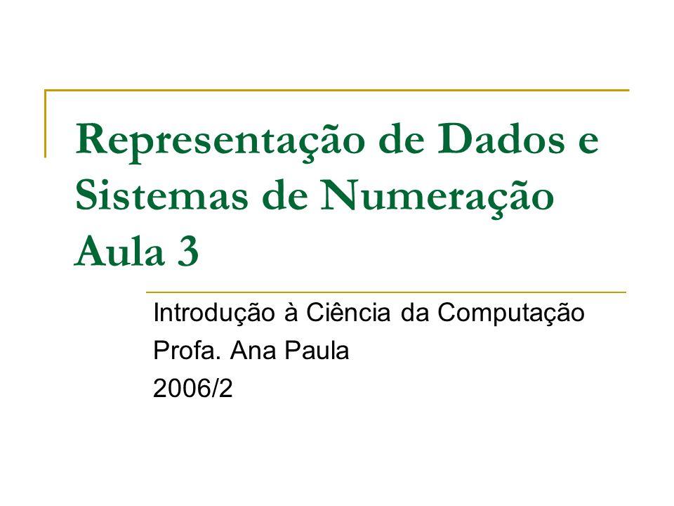 Representação de Dados e Sistemas de Numeração Aula 3 Introdução à Ciência da Computação Profa. Ana Paula 2006/2