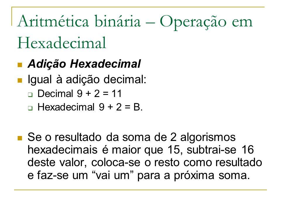 Aritmética binária – Operação em Hexadecimal Adição Hexadecimal Igual à adição decimal: Decimal 9 + 2 = 11 Hexadecimal 9 + 2 = B. Se o resultado da so