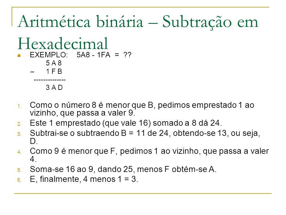 Aritmética binária – Subtração em Hexadecimal EXEMPLO: 5A8 - 1FA = ?? 5 A 8 – 1 F B -------------- 3 A D 1. Como o número 8 é menor que B, pedimos emp