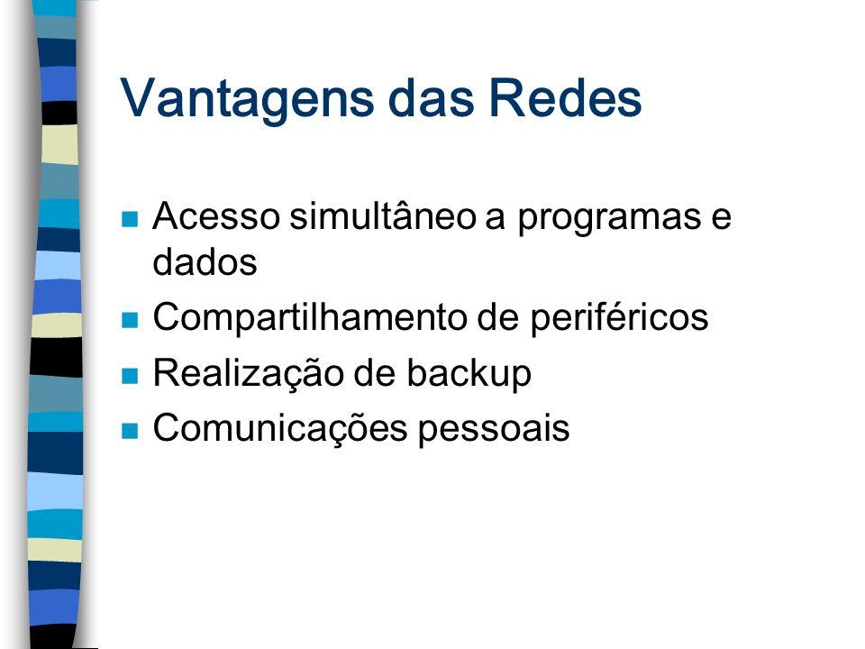 Vantagens das Redes n Acesso simultâneo a programas e dados n Compartilhamento de periféricos n Realização de backup n Comunicações pessoais