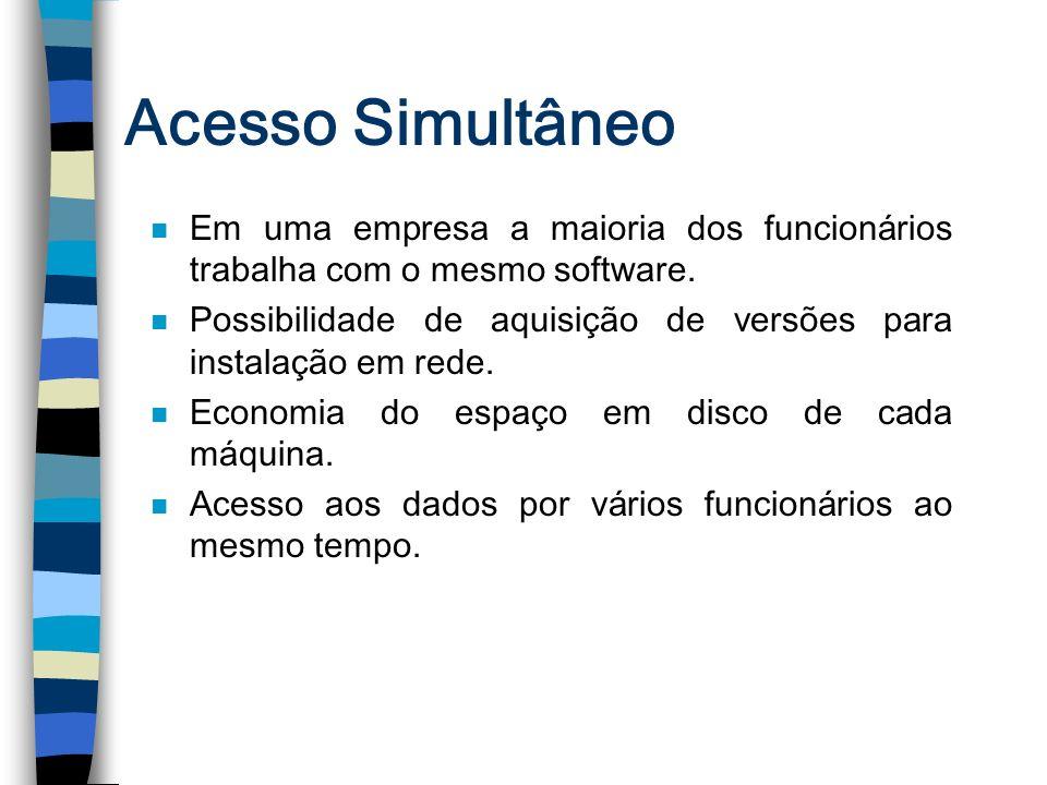 Acesso Simultâneo n Em uma empresa a maioria dos funcionários trabalha com o mesmo software. n Possibilidade de aquisição de versões para instalação e