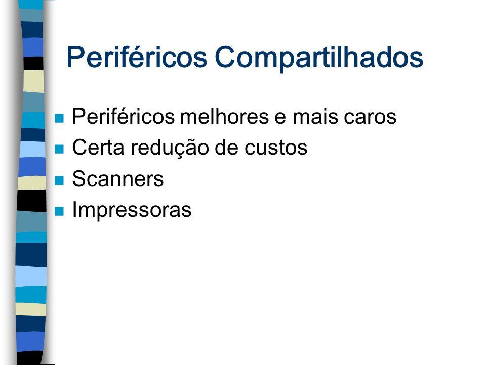 Periféricos Compartilhados n Periféricos melhores e mais caros n Certa redução de custos n Scanners n Impressoras