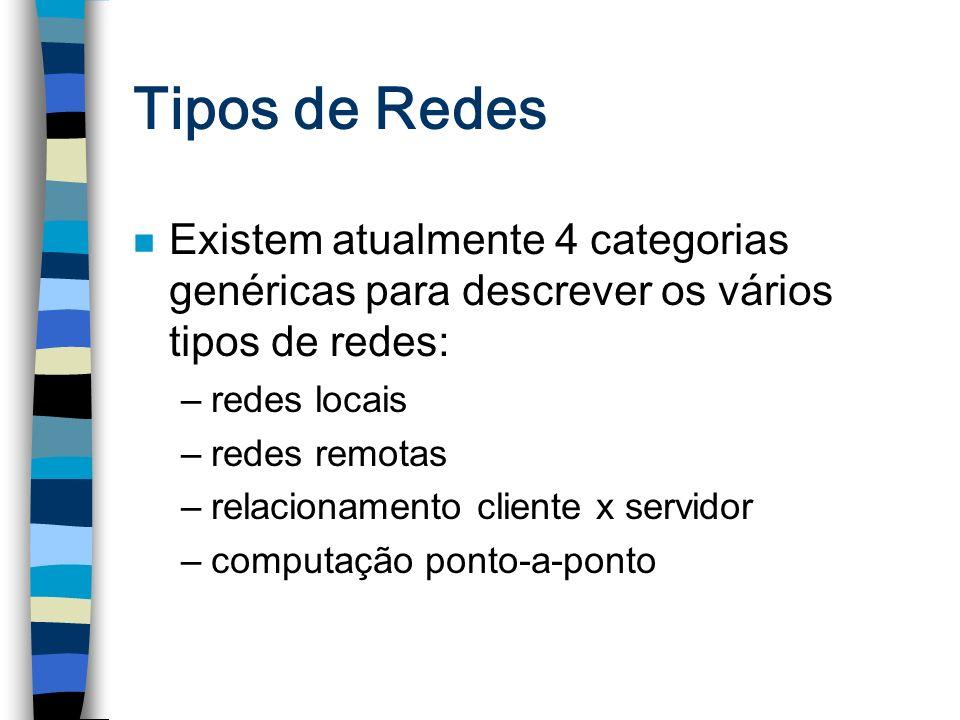 Tipos de Redes n Existem atualmente 4 categorias genéricas para descrever os vários tipos de redes: –redes locais –redes remotas –relacionamento clien