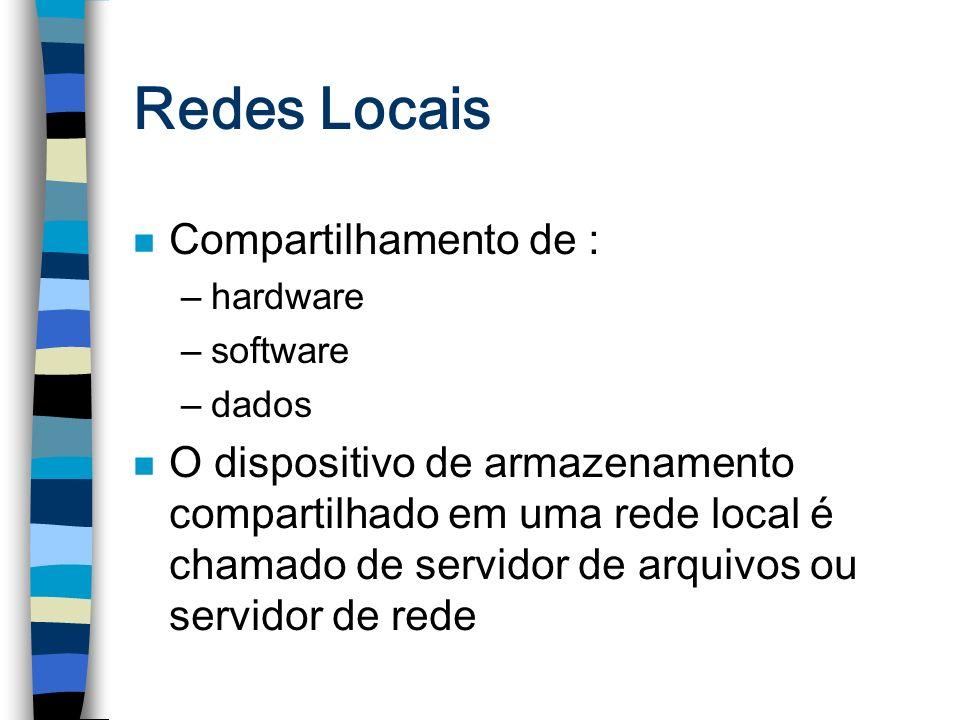 Redes Locais n Compartilhamento de : –hardware –software –dados n O dispositivo de armazenamento compartilhado em uma rede local é chamado de servidor