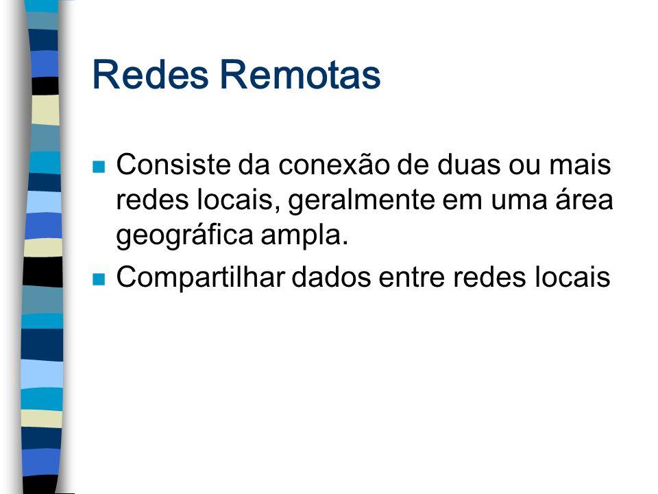Redes Remotas n Consiste da conexão de duas ou mais redes locais, geralmente em uma área geográfica ampla. n Compartilhar dados entre redes locais