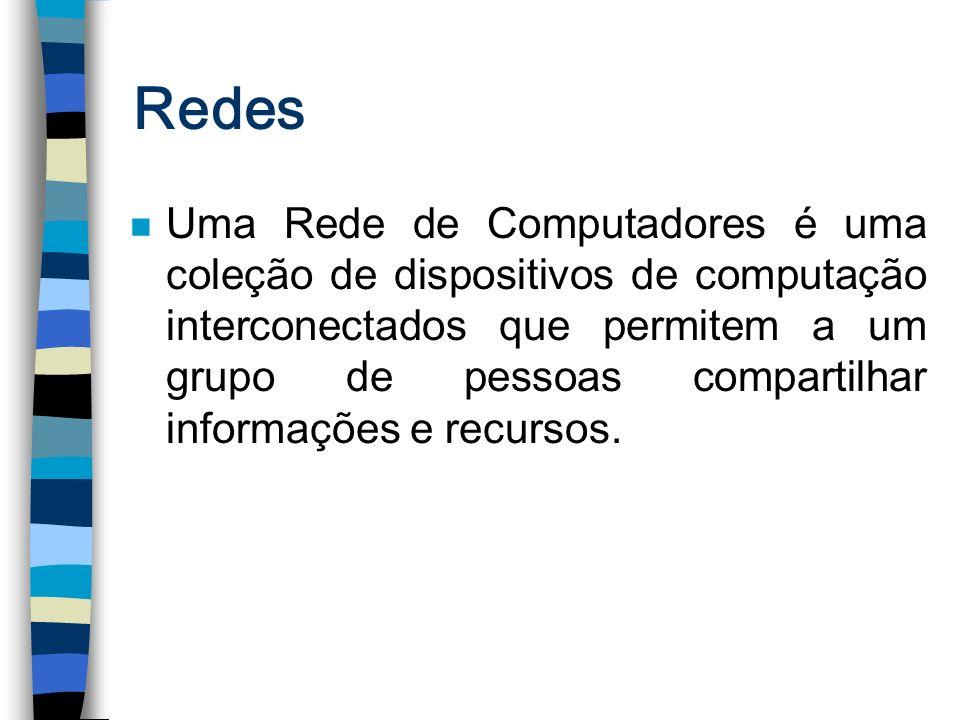 Redes n Uma Rede de Computadores é uma coleção de dispositivos de computação interconectados que permitem a um grupo de pessoas compartilhar informaçõ