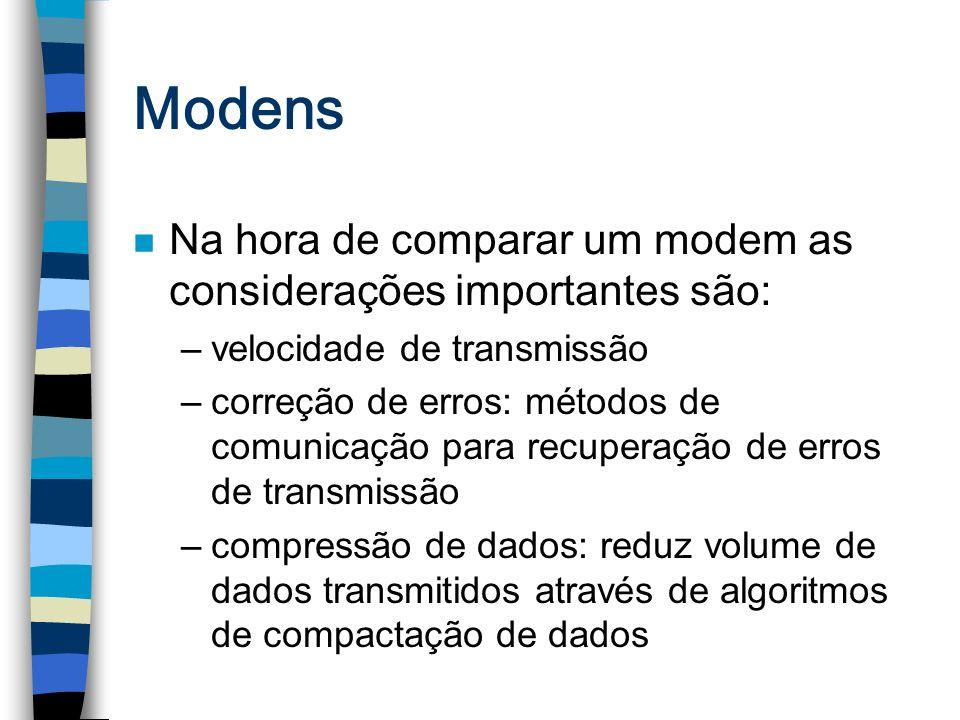 Modens n Na hora de comparar um modem as considerações importantes são: –velocidade de transmissão –correção de erros: métodos de comunicação para rec