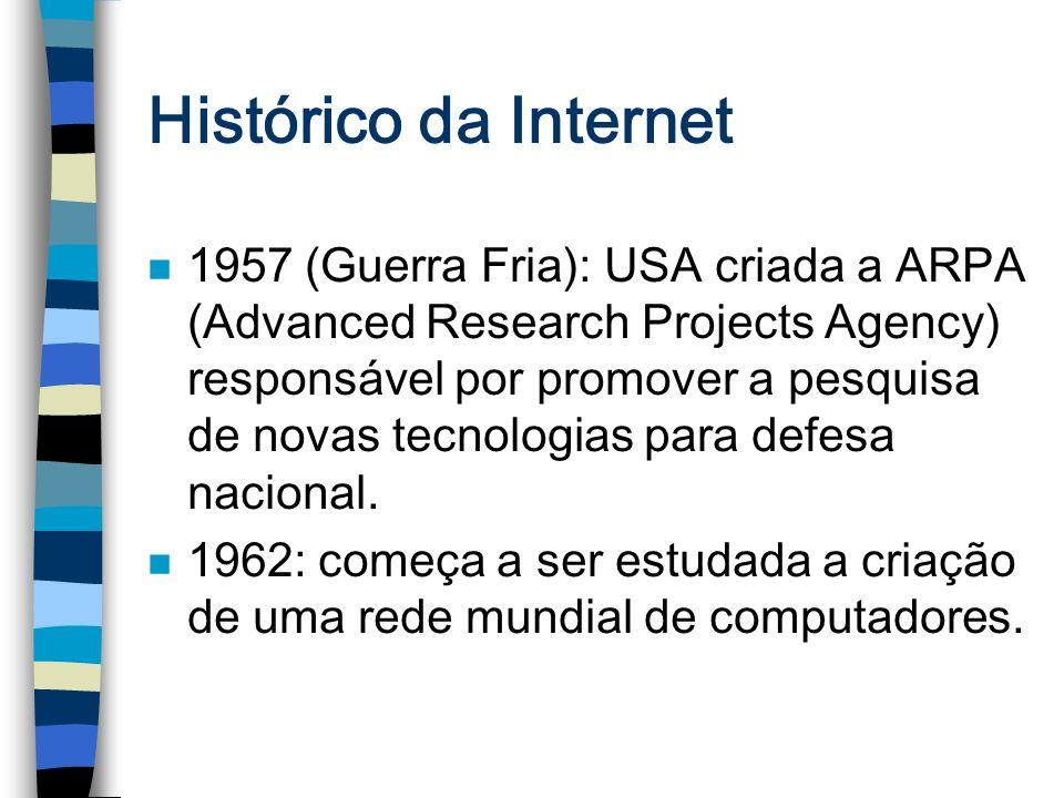 Histórico da Internet n 1957 (Guerra Fria): USA criada a ARPA (Advanced Research Projects Agency) responsável por promover a pesquisa de novas tecnolo