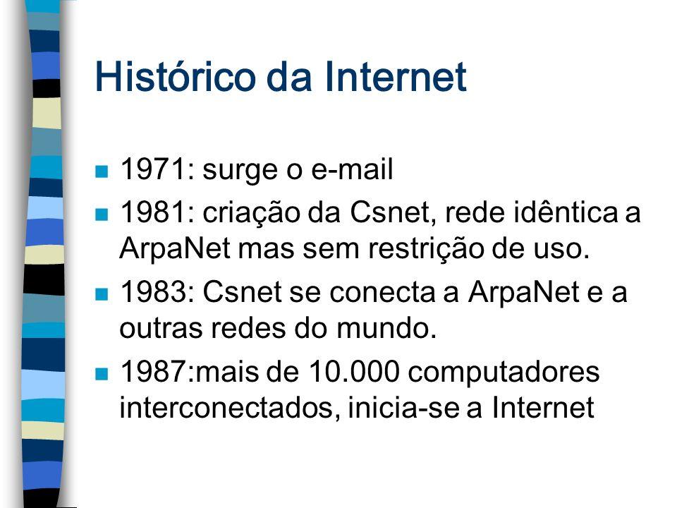 Histórico da Internet n 1971: surge o e-mail n 1981: criação da Csnet, rede idêntica a ArpaNet mas sem restrição de uso. n 1983: Csnet se conecta a Ar