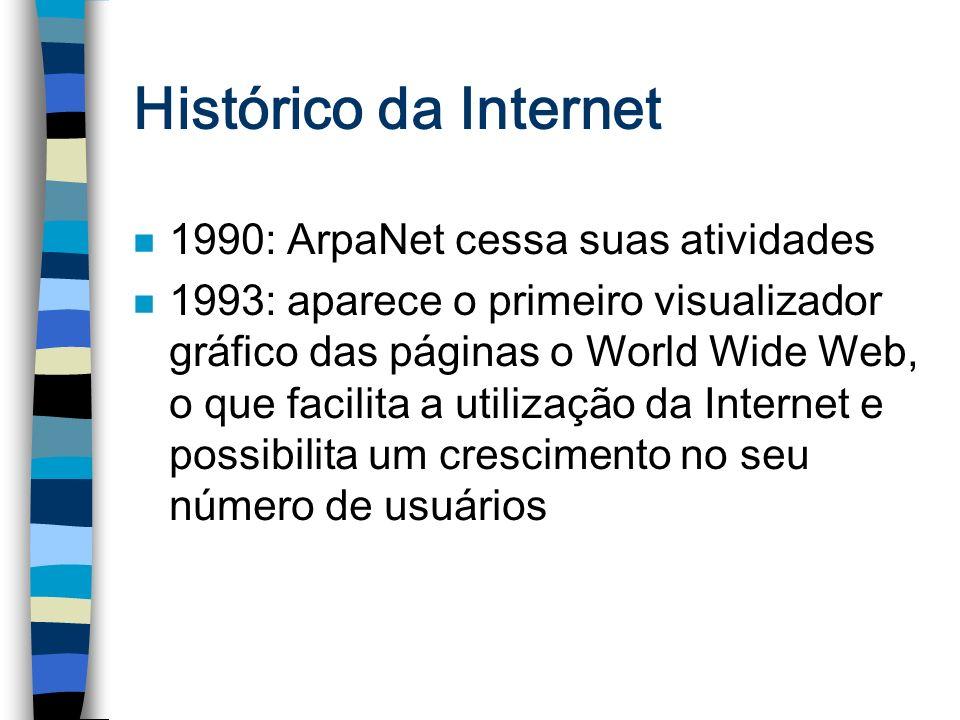 Histórico da Internet n 1990: ArpaNet cessa suas atividades n 1993: aparece o primeiro visualizador gráfico das páginas o World Wide Web, o que facili