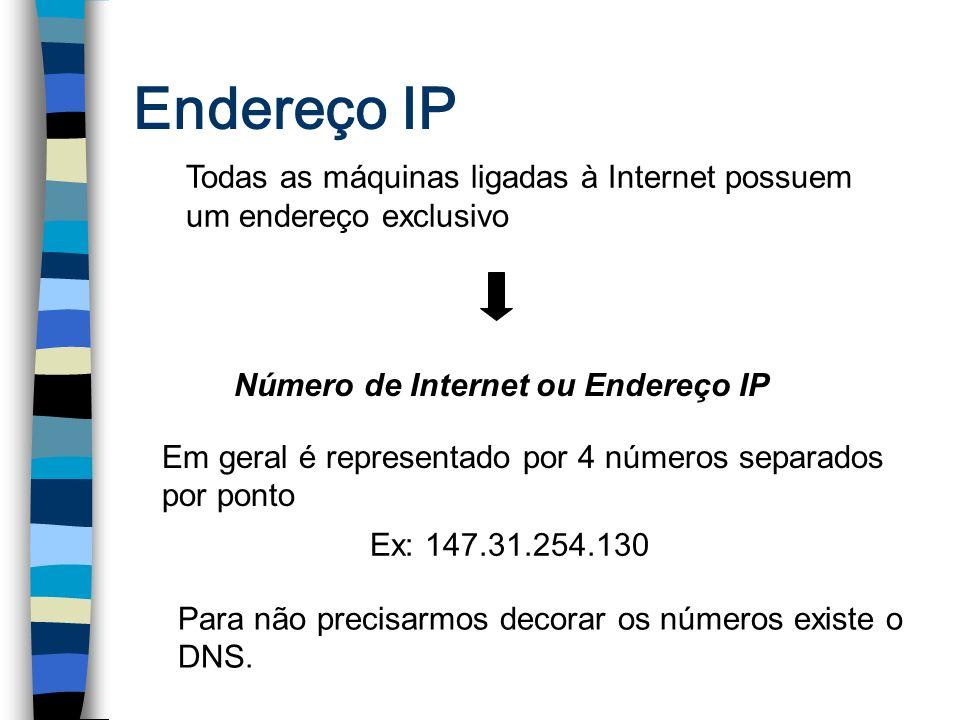 Endereço IP Todas as máquinas ligadas à Internet possuem um endereço exclusivo Número de Internet ou Endereço IP Em geral é representado por 4 números